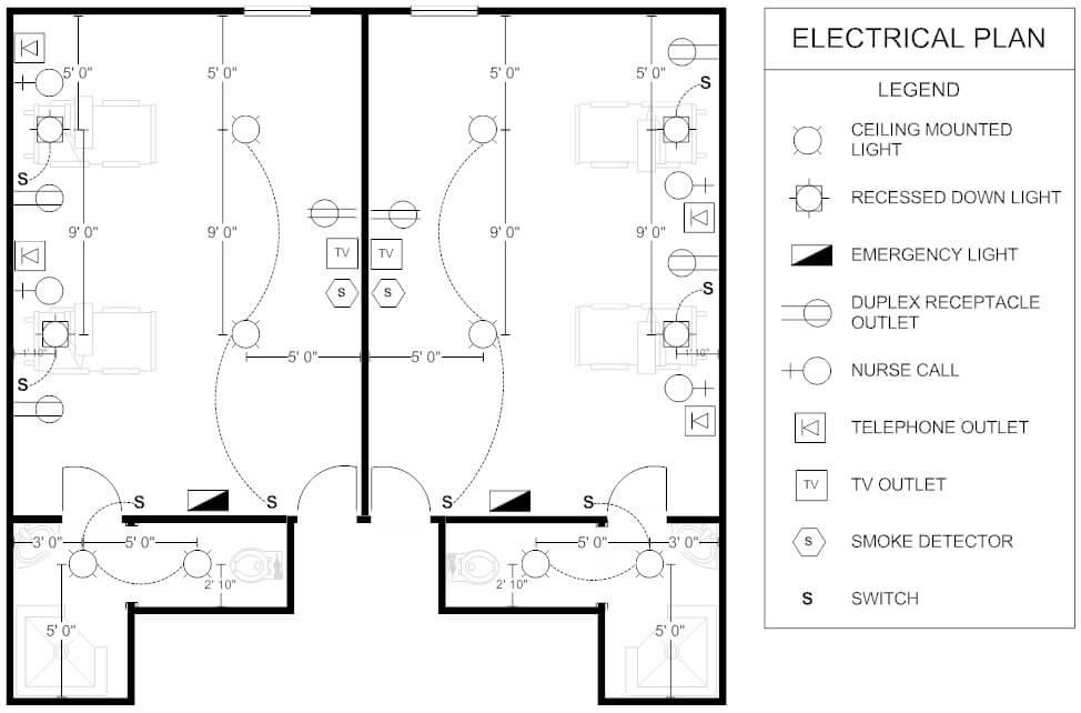 plano electrico habitacion de paciente
